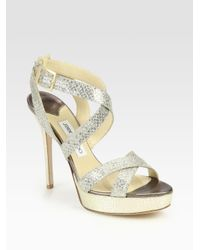 0152614572a8 Jimmy Choo Metallic Snake-Embossed Lam Eacute  Sandals in Metallic ...