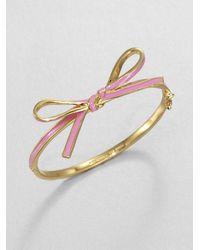 kate spade new york - Metallic Skinny Mini Enamel Bow Bangle Bracelet - Lyst
