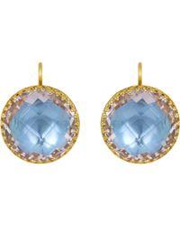 Larkspur & Hawk | Blue Topaz Olivia Button Earrings | Lyst