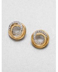 Marco Bicego | Metallic Jaipur Link Diamond & 18k Yellow Gold Stud Earrings | Lyst