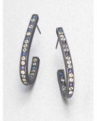 Mcl Matthew Campbell Laurenza | Black Blue Sapphire, White Topaz, Blue Topaz & Sterling Silver J-hoop Earrings | Lyst