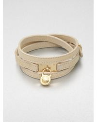 Michael Kors | Metallic Logo Padlock Accented Leather Wrap Bracelet | Lyst