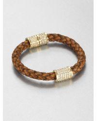 Michael Kors - Multicolor Braided Leather Paveacute Bead Bracelet - Lyst