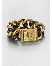 Michael Kors | Metallic Tortoisepattern Logo Lock Chain Link Bracelet | Lyst