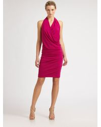 Nicole Miller | Pink Silk Halter Dress | Lyst