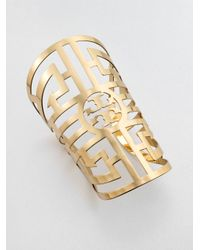 Tory Burch | Metallic Wide Labyrinth Cuff Bracelet | Lyst