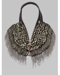 Vera Wang - Gray Glass Stone Chain Fringe Zip Necklace - Lyst