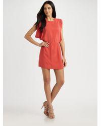 Wren - Red Julia Draped Silk Dress - Lyst