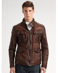 Andrew Marc - Brown Barrell Blaster Leather Jacket for Men - Lyst