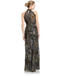 Badgley Mischka | Black Back Drape Printed Silk Halter Gown | Lyst