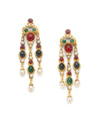 Ben-Amun - Green Byzantine Triple Chandelier Earrings - Lyst