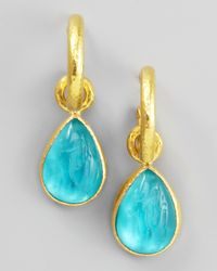 Elizabeth Locke | Metallic Teal Intaglio Teardrop Earring Pendants | Lyst