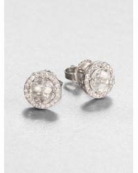 KALAN by Suzanne Kalan - White Topaz, White Sapphire & 14k White Gold Round Stud Earrings - Lyst