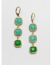kate spade new york | Green Faceted Link Drop Earrings | Lyst