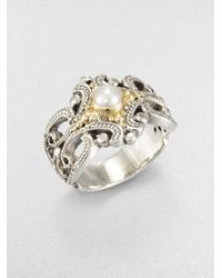 Konstantino | White Freshwater Pearl Sterling Silver and 18k Yellow Gold Ring | Lyst
