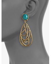 Oscar de la Renta - Metallic Turquoise and Quartz Drop Earrings - Lyst