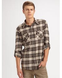 VINCE | Green Plaid Flannel Shirt for Men | Lyst