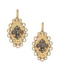 Belargo | Metallic Twotone Fleur De Lis Medallion Drop Earrings | Lyst
