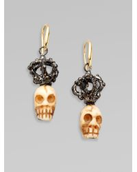 Delfina Delettrez - Metallic Sterling Silver 18k Gold Crowned Bone Skull Earrings - Lyst