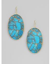 Ippolita - Metallic Turquoise 18k Gold Oval Drop Earrings - Lyst