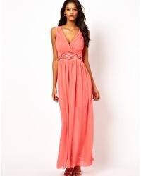 cfb040f6d2 Little Mistress Wrap Front Embellished Waist Maxi Dress in Pink - Lyst