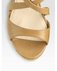 Prada - Natural Leather Espadrille Wedge Sandals - Lyst
