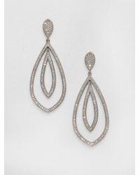 Adriana Orsini | Metallic Double Teardrop Sparkle Earrings/silver | Lyst