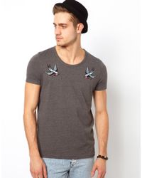 ASOS - Gray T-shirt with Embroidered Swallow Design for Men - Lyst