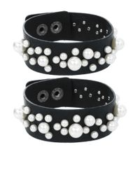 ASOS Collection - Black Limited Edition Multipack Pearl Leather Cuff Bracelets - Lyst