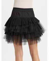 BCBGMAXAZRIA - Black Tiered Tulle Skirt - Lyst