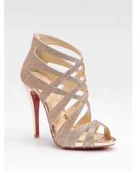 Christian Louboutin | Metallic Balota Glitter Leather Strappy Sandals | Lyst