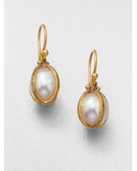 Gurhan | Metallic Capture South Sea Pearl & 24k Yellow Gold Drop Earrings | Lyst