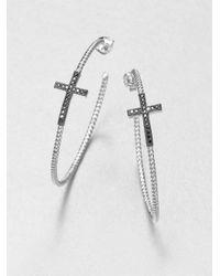 Jude Frances | Metallic Black Spinel Cross Hoops | Lyst