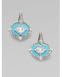 Judith Ripka | Blue White Sapphire, Turquoise & Sterling Silver Earrings | Lyst