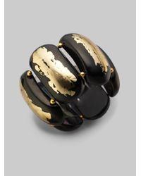Kenneth Jay Lane | Metallic Gold Leaf Stretch Bracelet black | Lyst