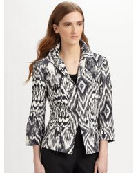 Lafayette 148 New York | Gray Ikat Print Faille Jacket | Lyst