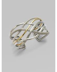 Lagos - Metallic Sterling Silver 18k Gold Woven Cuff Bracelet - Lyst