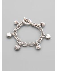 Lagos | Metallic Sterling Silver Heart Charm Bracelet | Lyst