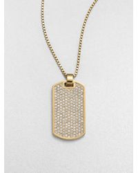 Michael Kors | Metallic Dualsided Dog Tag Pendant Necklace | Lyst