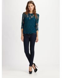 MILLY | Blue Chantilly Lace Caterina Top | Lyst