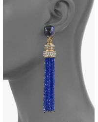 Oscar de la Renta - Blue Pav233 Tassel Earrings - Lyst