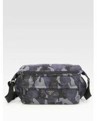 c651547d6ddf Prada Small Nylon Shoulder Bag in Blue for Men - Lyst