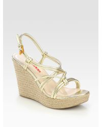 Prada | Metallic Wedge Sandals | Lyst