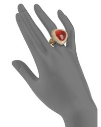 Roberto Coin - Red Moonstone Pavé Brown Diamond 18k Yellow Gold Cocktail Ring - Lyst