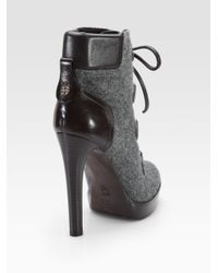 Tory Burch - Gray Lawson Wool and Leather Ankle Boots - Lyst