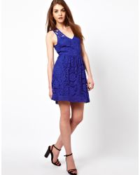 American Retro | Blue Lace Skater Dress | Lyst