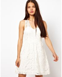 American Retro | White Lace Skater Dress | Lyst