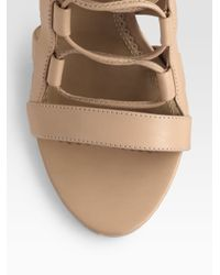 Aquazzura - Brown Amazon Leather Laceup Sandals - Lyst
