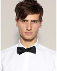 ASOS - Black Self Tie Bow Tie for Men - Lyst
