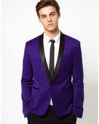 ASOS - Blue Skinny Tuxedo Suit Jacket In Indigo Polywool for Men - Lyst
